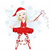 Illustration of a beautiful Christmas fairy with magic wand