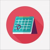 Valentine's Day February Fourteen Calendar Flat Icon With Long Shadow,eps10