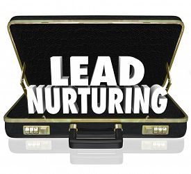 picture of clientele  - Lead Nurturing 3d words in a black leather briefcase to illustrate a sales or marketing campaign to educate customers - JPG