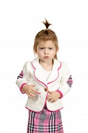 stock photo of frown  - Portrait of a little girl who offended frowned isolated on a white background - JPG