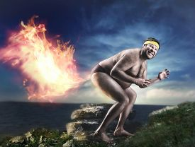 image of queer  - Bizarre naked man farts flame - JPG