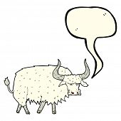picture of annoying  - cartoon annoyed hairy ox with speech bubble - JPG