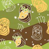 stock photo of virgo  - Vector seamless pattern with Virgo astrology symbols - JPG