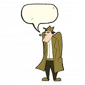 image of crazy hat  - cartoon man in hat and trench coat with speech bubble - JPG