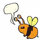foto of bee cartoon  - cartoon frightened bee with speech bubble - JPG