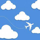 picture of passed out  - Flat style vector illustration of an airplane passing through white clouds - JPG