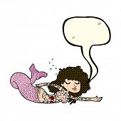 picture of mermaid  - cartoon mermaid with tattoos with speech bubble - JPG