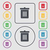 stock photo of reuse  - Recycle bin Reuse or reduce icon sign - JPG