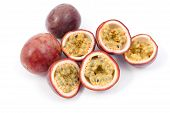 image of passion fruit  - Passion Fruit cut in half over a white background - JPG