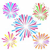 stock photo of explosion  - Festive fireworks pattern template layout colorful explosion isolated - JPG