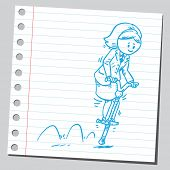 image of bouncing  - Businesswoman bouncing on pogo stick - JPG