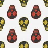 stock photo of sugar skulls  - Seamless watercolor pattern with skary sugar skulls on the white background - JPG
