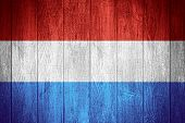 stock photo of holland flag  - Holland flag or Dutch banner on wooden boards background Netherlands - JPG