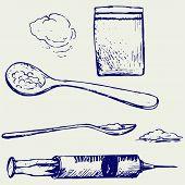 stock photo of heroin  - Drug syringe - JPG