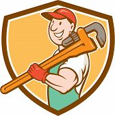 picture of overalls  - Illustration of a plumber in overalls and hat smiling holding monkey wrench on shoulder set inside shield crest shape on isolated background done in cartoon style - JPG