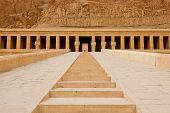 stock photo of hatshepsut  - Entrens of the temple of Hatshepsut near Luxor in Egypt - JPG