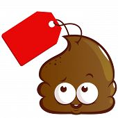 image of poop  - Vector illustration of a cute cartoon poop with a price tag - JPG