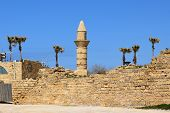 foto of crusader  - minaret of Caesarea Maritima at ancient port Caesarea - JPG