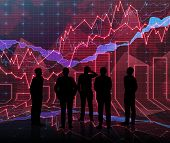 pic of siluet  - An abstract Forex graph room in red with people siluet - JPG