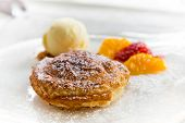 pic of cream puff  - Apple pie in puff pastry served with ice cream and candied fruit - JPG