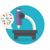 foto of microbes  - Illustration biochemistry and microbiology icon depicting a laboratory microscope for examining microbes and bacteria in science medicine and industry - JPG