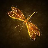 stock photo of dragonflies  - Shiny abstract dragonfly - JPG