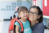 foto of scared baby  - children and mother crying first day go to pre - JPG