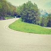 picture of italian alps  - Winding Asphalt Road in the Italian Alps Instagram Effect - JPG