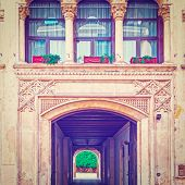picture of vicenza  - Balcony above the Gateway in the Italian City of Vicenza Instagram Effect - JPG