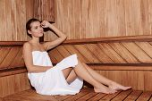 picture of sauna woman  - Lifestyle relaxation - JPG