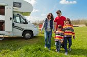image of camper  - Family vacation, RV (camper) travel with kids, happy parents with children on holiday trip in motorhome