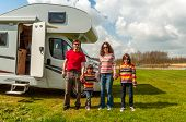 picture of camper  - Family vacation, RV (camper) travel with kids, happy parents with children on holiday trip in motorhome