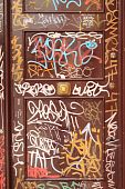 Graffiti on a wooden door
