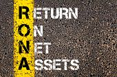 stock photo of asset  - Business Acronym RONA - Return on net assets. Yellow paint line on the road against asphalt background. Conceptual image - JPG