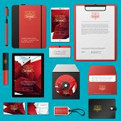 Red Vector Corporate Identity Template Design With Thin Line Logotype And Abstract Polygonal Backgro poster