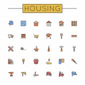 picture of trowel  - Thirty colored housing line icons - JPG