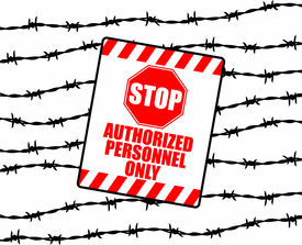 stock photo of warning-signs  - silhouette graphic depicting strands of barbed wire with warning sign - JPG