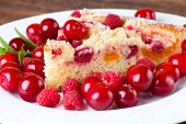 Постер, плакат: Detail View On Slice Of Fruit Pie With Berries Around