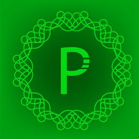 pic of monogram  - Simple  Monogram P Design Template on Green Background - JPG