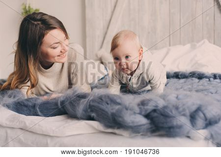 happy mother and