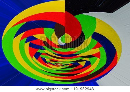 Abstract painting made on the basis of hand-drawn acrylic graffiti with texture. Twisting, rotating lines in multicolor fashion. Abstractionism style for modern stylish design, for all occasions, especially bright and festive