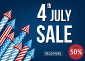 4Th Of  July  Sale Banner  With  Firework  Rockets. poster