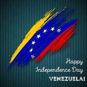 Постер, плакат: Venezuela Independence Day Patriotic Design Expressive Brush Stroke In National Flag Colors On Dark