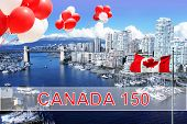 Canadian flag and balloons in front of view of False Creek and the Burrard street bridge in Vancouve poster