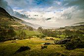 A Beautiful Irish Mountain Landscape In Spring. Gleninchaquin Park In Ireland. poster