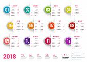 Calendar For 2018 Year. Vector Design Stationery Template. Week Starts On Sunday. Flat Style Color V poster