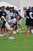 SAINT LOUIS, MISSOURI - AUGUST 19: Saint Louis Rams Football team during practice with coach Steve S