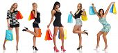 picture of female model  - Women with shopping bags isolated on a white background - JPG