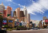 LAS VEGAS â?? MAY 2: Automobiles and tourist buses travel past the New York, New York Hotel & Casino