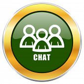 Chat green glossy round icon with golden chrome metallic border isolated on white background for web